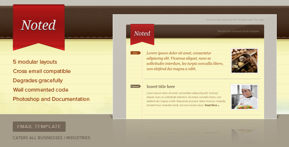 Free Download Noted Email Newsletter Template Nulled Latest Version