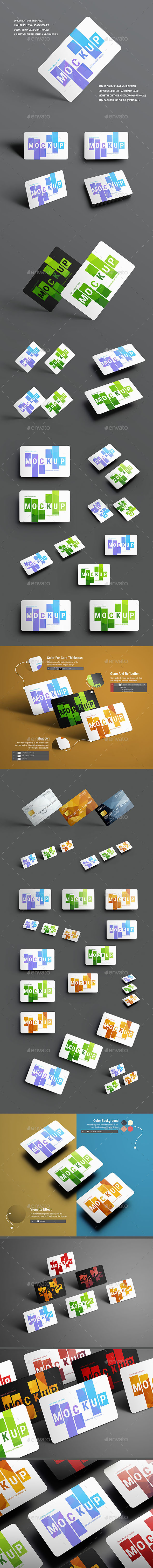 30 Mockups Universal For Gift and Bank Cards - Product Mock-Ups Graphics