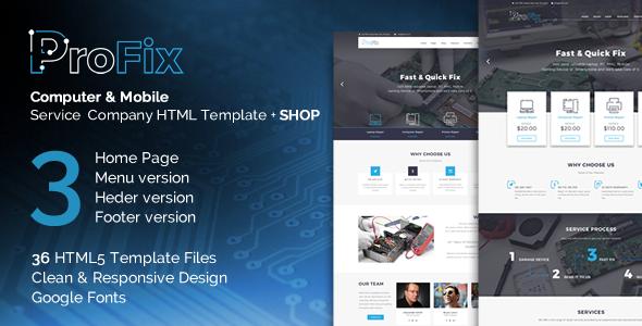 ProFix - Computer & Mobile Phone Repair Service Company + Shop HTML5 Template - Computer Technology