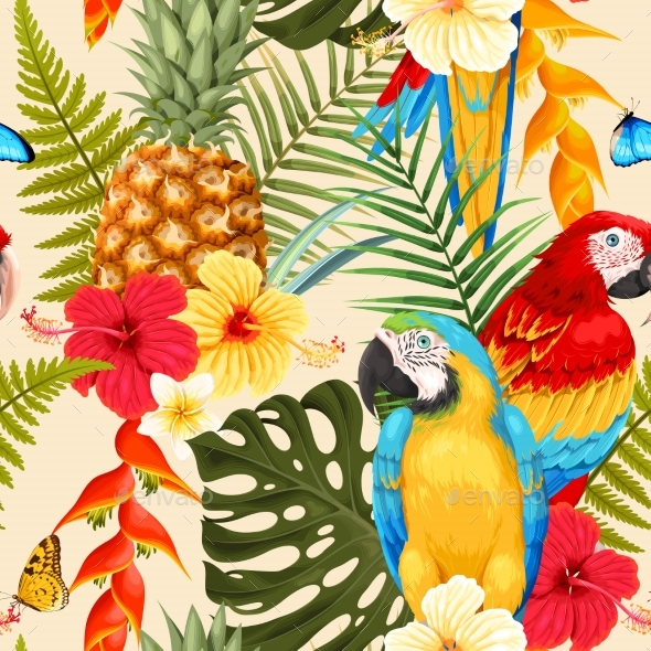 Seamless Macaw, Pineapple and Flowers - Flowers & Plants Nature
