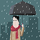 Man with Umbrella Standing Under the Rain - GraphicRiver Item for Sale