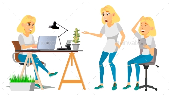 Business Woman Character Vector. Blonde Woman - People Characters