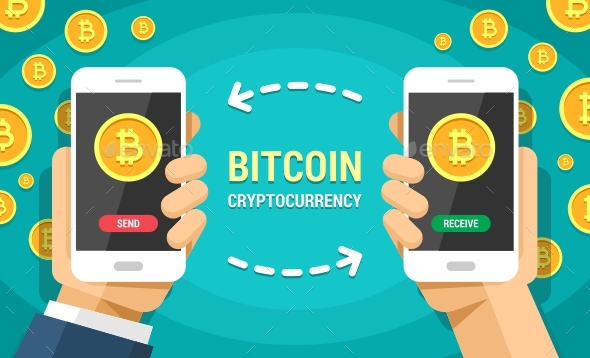 Two Hands Holding Mobile Phones With Bitcoin Cryptocurrency Vector Flat Colored Illustration - Concepts Business