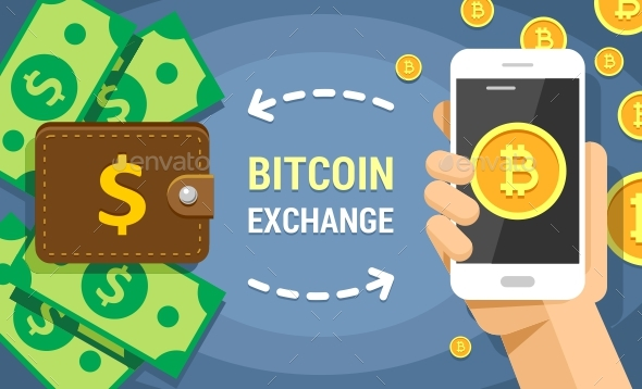 Colorful Flat Vector Illustration of Cryptocurrency Bitcoin Exchanging on Dollar Cash - Concepts Business