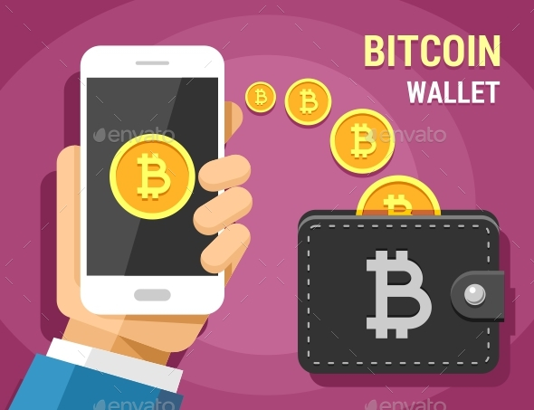 Hand Holding Mobile Phone Sending Gold Bitcoins Into the Wallet - Concepts Business