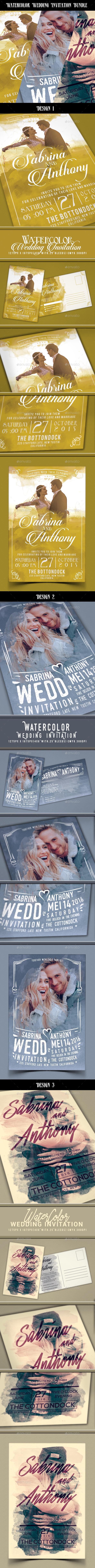 Watercolor Wedding Invitation Bundle - Weddings Cards & Invites