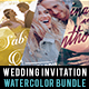 Watercolor Wedding Invitation Bundle