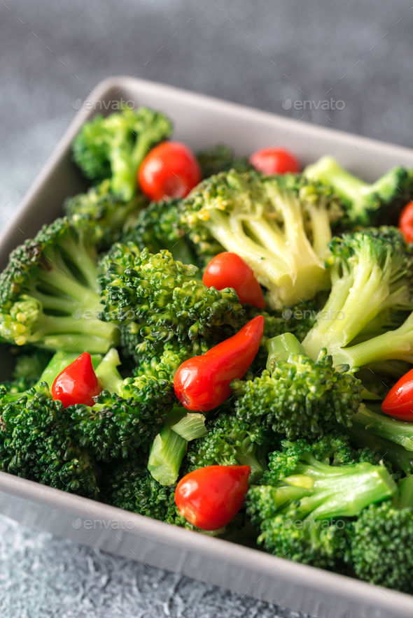 Bowl of broccoli and chili stir-fry - Stock Photo - Images