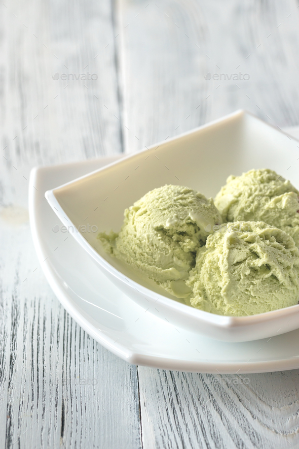 Pistachio ice cream in the bowl - Stock Photo - Images