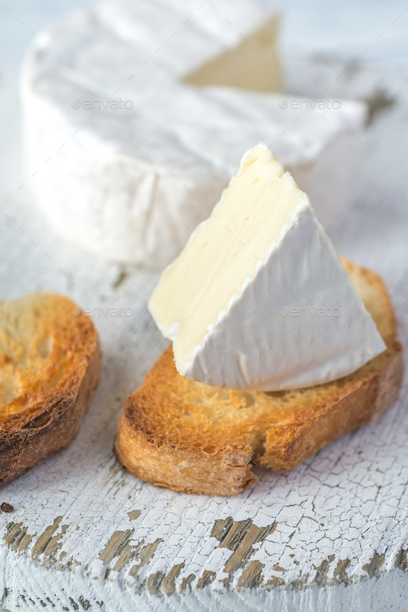 Toasted bread with Camembert cheese - Stock Photo - Images