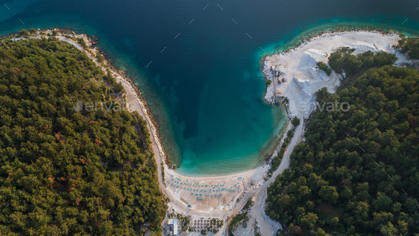 Porto Vathy Marble Beach in Thassos Island Greece - Stock Photo - Images