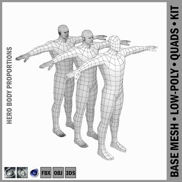Male Hero Low Poly Base Mesh in T-Pose - 3DOcean Item for Sale