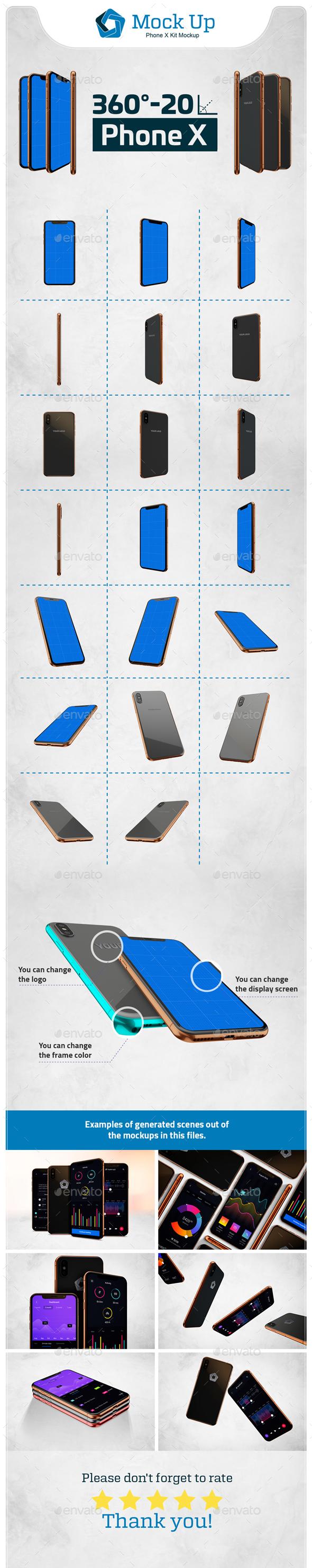 Phone X Kit Mockup - Product Mock-Ups Graphics