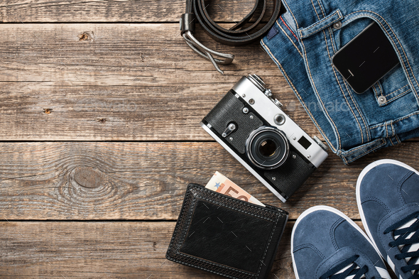 Traveler clothes and accessories - Stock Photo - Images
