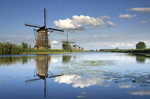 The windmills of Kinderdijk - Stock Photo - Images