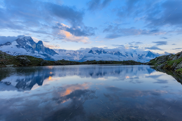 Mont Blanc reflected in Cheserys Lake, Mont Blanc, France - Stock Photo - Images