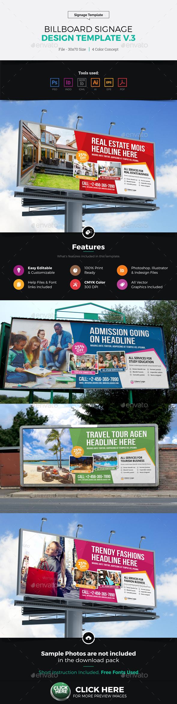 Billboard Signage Design v3 - Signage Print Templates