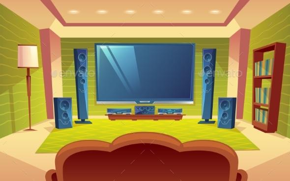 Vector Cartoon Home Theater - Media Technology