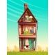 Vector Cartoon Multistory House Interior