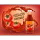 Vector 3d Realistic Poster of Tomato Ketchup