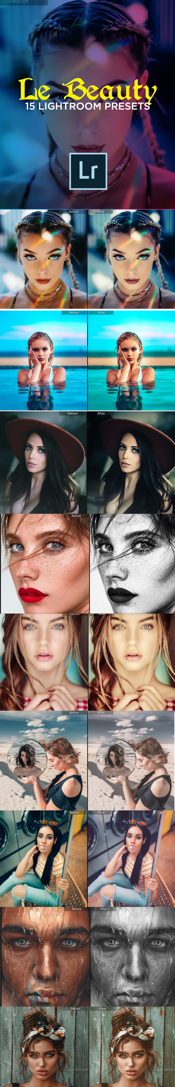 15 Le Beauty Lightroom Presets - Portrait Lightroom Presets