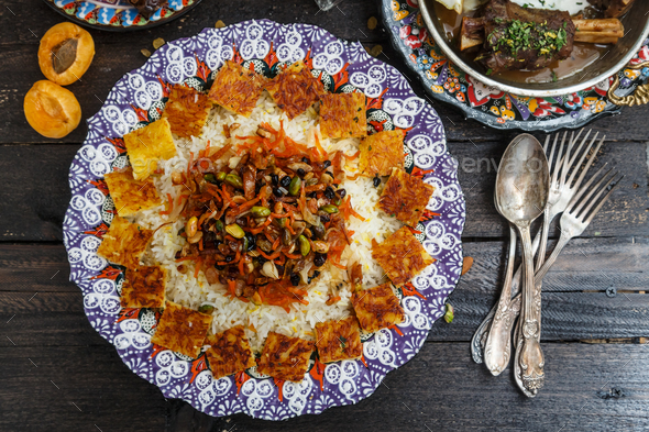 Jeweled rice close view, iranian pilaf with tahdig - Stock Photo - Images