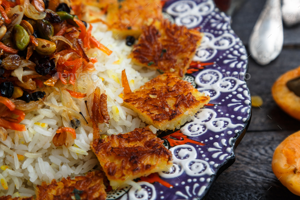Close view of iranian jewelled rice - Stock Photo - Images
