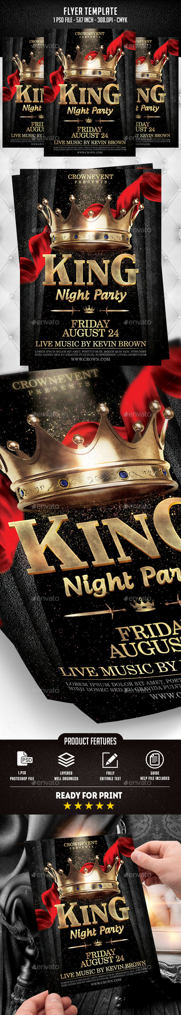 King Night Party Flyer Template - Clubs & Parties Events