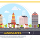 Flat Summer Cityscape Template - GraphicRiver Item for Sale