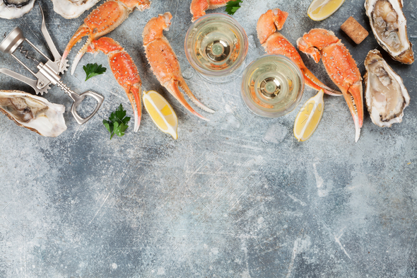 Seafood and white wine - Stock Photo - Images