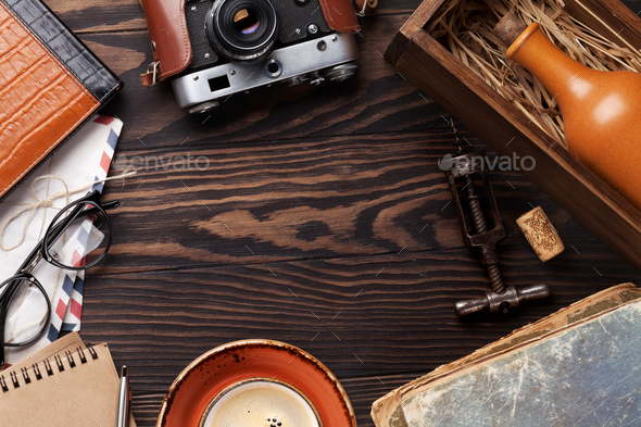 Retro table with vintage items - Stock Photo - Images