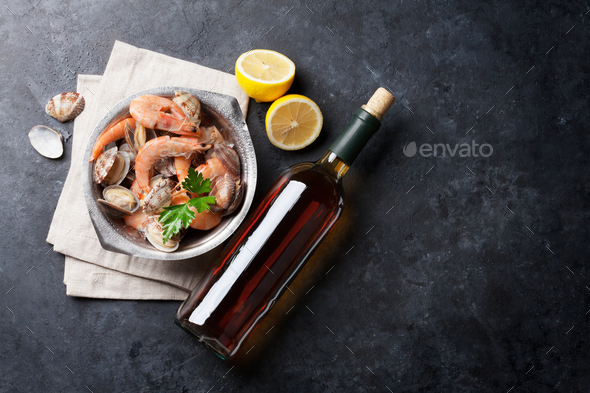Fresh seafood and white wine - Stock Photo - Images