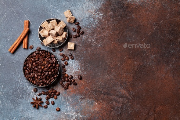 Coffee beans and sugar - Stock Photo - Images