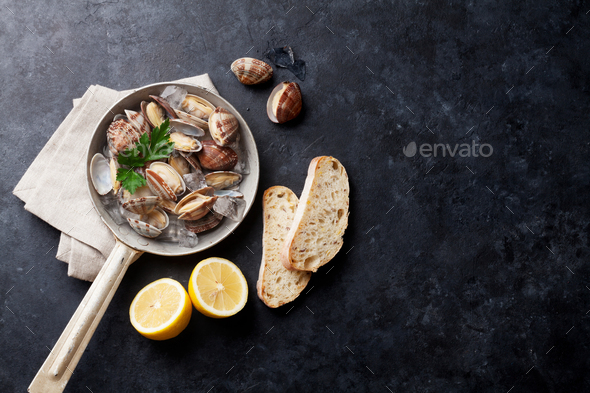 Fresh seafood. Scallops - Stock Photo - Images