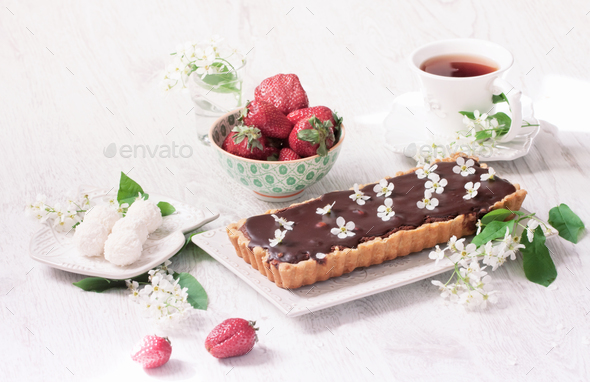Chocolate tart - Stock Photo - Images