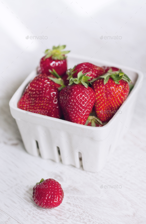 Fresh ripe strawberries on a vintage wooden background - Stock Photo - Images
