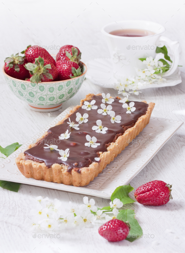 Chocolate tart - Stock Photo - Images