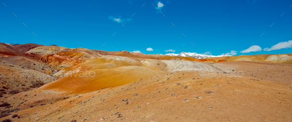Deposit of colorful clay in the Altai Mountains or Mars valley, Kizil-Chin - Stock Photo - Images