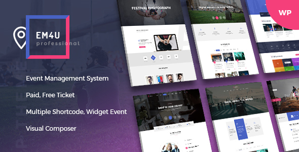 EM4U - Multiple Event & Conference Ticket, QR Code WordPress Theme