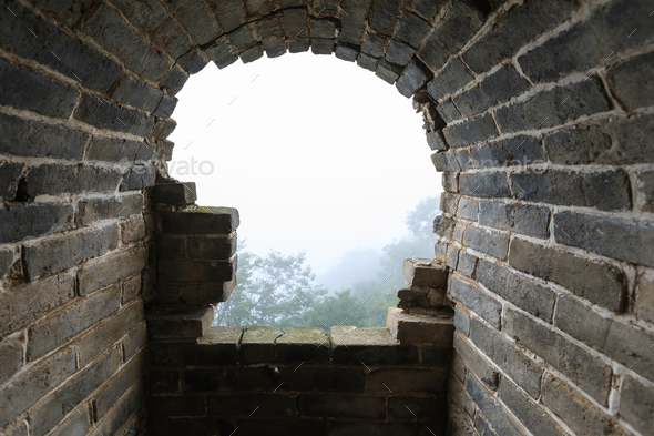 Window interior of Chinese great wall tower  - Stock Photo - Images