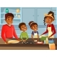 Afro American Black Family Cooking