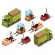 Isometric Loader Trucks Vector Illustration