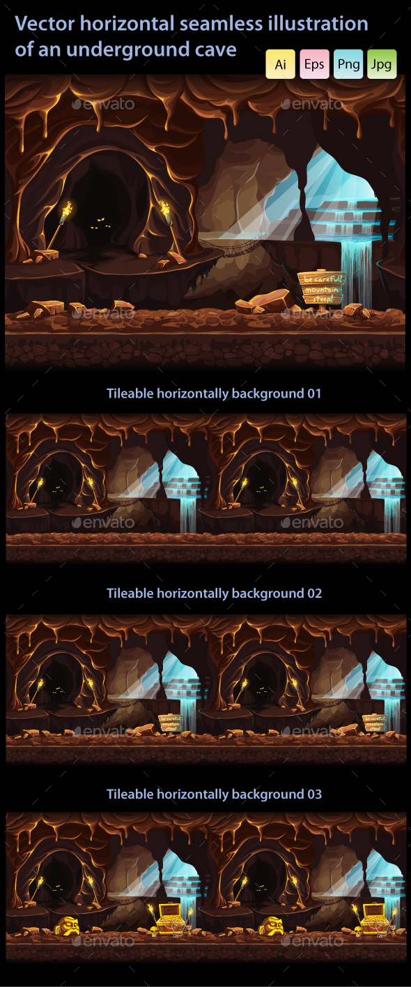Horizontal Seamless Underground Cave - Backgrounds Game Assets