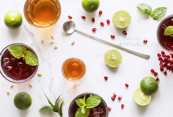 Aerial view of homemade summer drinks - Stock Photo - Images