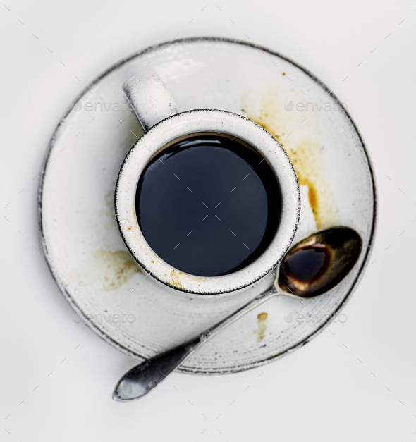 Aerial view of hot coffee - Stock Photo - Images