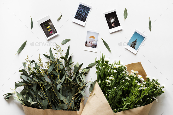 Flat lay of flower bouquet isolated on white background - Stock Photo - Images