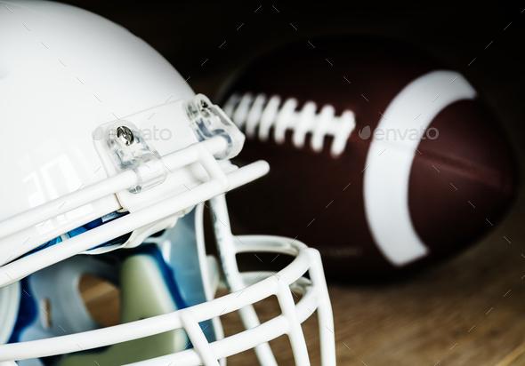 Closeup of American football helmet - Stock Photo - Images