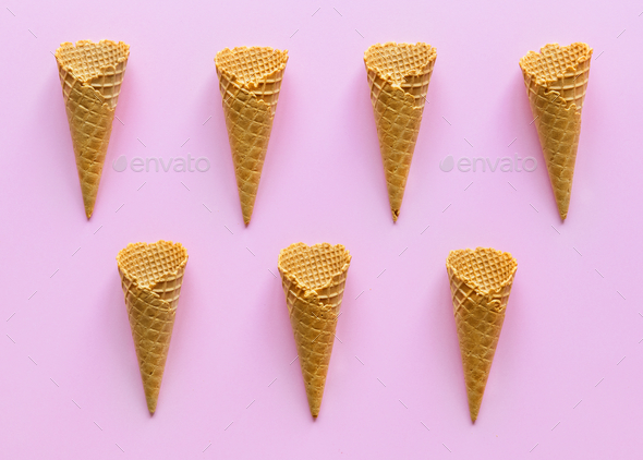 Aerial view of ice cream waffle cones - Stock Photo - Images
