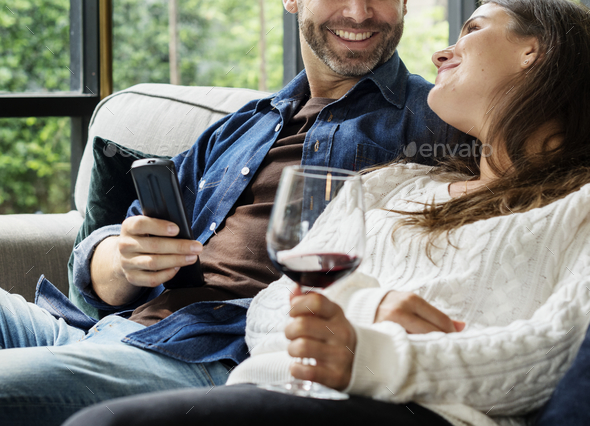 Cheerful couple spending time together - Stock Photo - Images