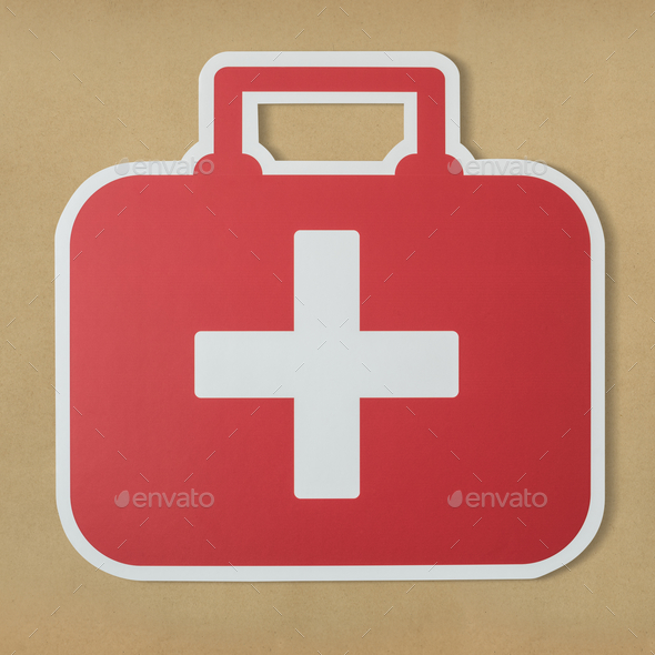 First aid bag paper craft icon - Stock Photo - Images